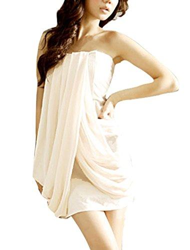 Femme Mousseline de soie Front élastique Pull Tube Chemise Beige XS Beige