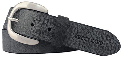 Green Yard Exklusiver Samtweicher Damen Ledergürtel, 4 cm Breite, Dunkelgrau, 110 cm (Gesamtlänge 125 cm) -