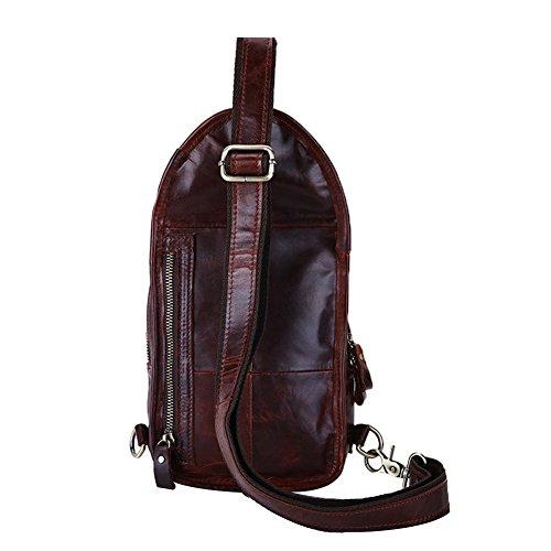 Genda 2Archer Vintage Leder Brusttasche Einzel Umhängetasche Schultertasche für Männer (Grün Kaffee) Rot Braun