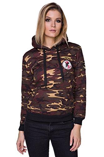 FUTURO FASHION Décontractés Pour Dames Militaire Armée Camouflage Capuche Manches Longues Détendu Sweat Capuche FZ118 Marron