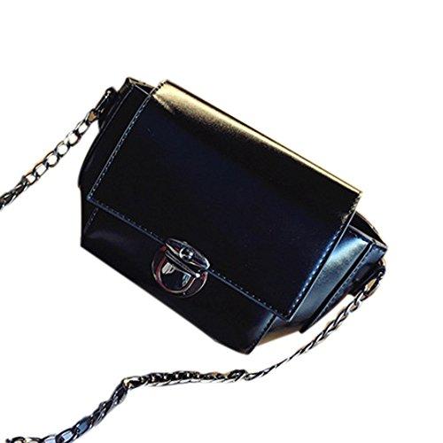 Longra Donne La catena della spalla Messenger Plug Blocco Piccolo pacchetto Nero