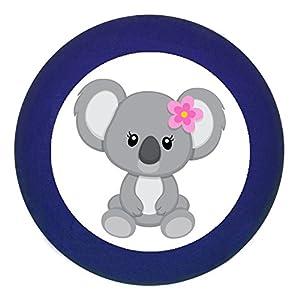 "Türknauf""Koalamädchen Koala Blume"" dunkelblau Holz Buche Kinder Kinderzimmer 1 Stück wilde Tiere Zootiere Dschungeltiere Traum Kind"