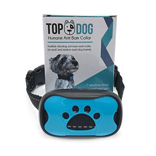 Dog Anti Bark Collar with Sound and Vibration by TopDog, Small, Medium & Large Dogs, 7 Adjustable Levels, No Shock, Harmless & Humane, Stops Dogs Barking, Additional Spare Battery & Fascia included, FREE SAFETY LED