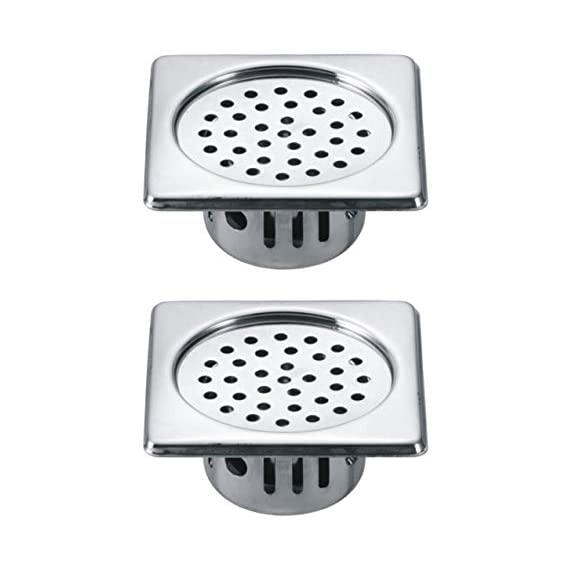 Drizzle Anti Cockroach Trap 5x5 Inch Square Stainless Steel With Chrome Finish/Cockroach Jali For Home And Kitchen/Drain Strainer For Bathroom - Combo Of 2 Pieces