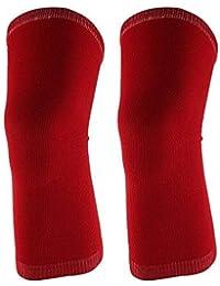 LKAIBIN Deportes al aire libre Gimnasio elástico luva rodilla Muscular Protector Suporte Brace Guarda 2pcs Rojo