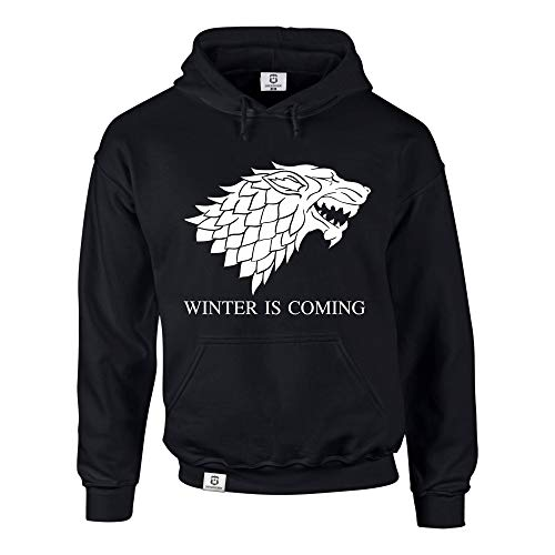 Hoodie Game of Thrones Winter is coming Kapuzenpullover Schattenwolf, schwarz-weiss, M