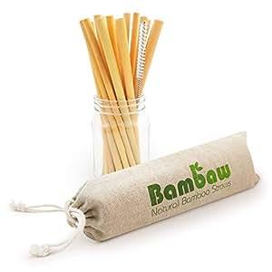 Reusable Bamboo Drinking Straws   Reusable Straw   Strong & Durable   Cocktail Straws   Biodegradable Straws   Eco Friendly Straws   BPA Free  Dishwasher Safe  12 Straws   Straw Bag   Bambaw