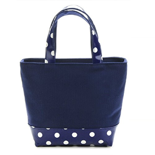 Lady Polka Dot Leinwand Handtasche Beach Tote Taschen Shopping, Staubbeutel Casual Fashion Mini Bag Kleine Handtasche, Canvas, gelb, 29 X 21.5 X 11.5CM blau