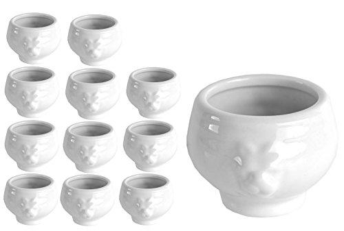Van Well 12er Set Mini-LÖWENKOPF-Terrine, 60 ml, Dip-Schale, Schälchen im königlichen Design, Löwenköpfchen, edles Markenporzellan -