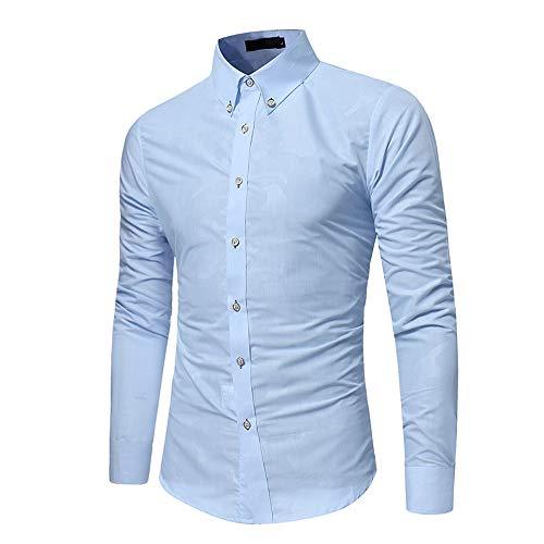 Jiameng bluse e camicie - camicia di vestito da uomo autunno camouflage slim fit manica lunga button-down camicetta superioretop a maniche lunghe con risvolto camouflage (m,bianco)