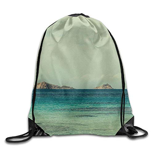 WCMBY Boat Sea Wave Island Clouds Drawstring Bag for Traveling Or Shopping Casual Daypacks School Bags