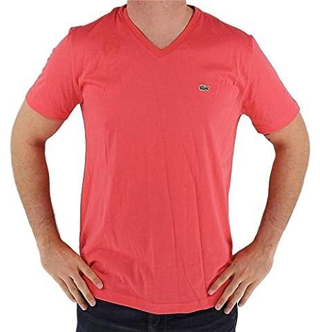 T-shirt col V Lacoste basique rouge pour homme