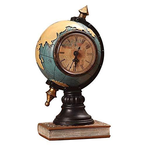 Uoging Dekorative Uhr Kreative Retro Globus Uhr Dekoration, Vintage Uhr Büro Desktop Ornament Arbeitszimmer Vorraum TV Schrank Wohnzimmer Cafe (Color : Blau)