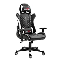 bigzzia Gaming Chair - Ergonomic Home Office Chairs - Adjustable High Back Swivel PU Leather Racing Computer Desk Chair with Lumbar Support and Headrest