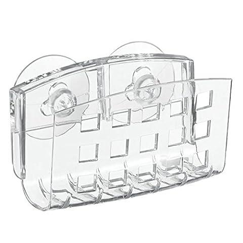 InterDesign Suction Bar Soap or Sponge Holder for Bathroom Shower, Kitchen Sink - Clear