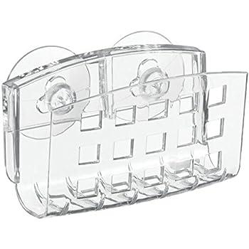 InterDesign Basic porte savon evier avec ventouses, support pour eponge en plastique, transparent