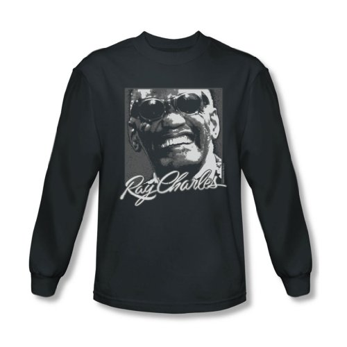 Ray Charles - Herren Signature Brille Langarm T-Shirt, XX-Large, Charcoal