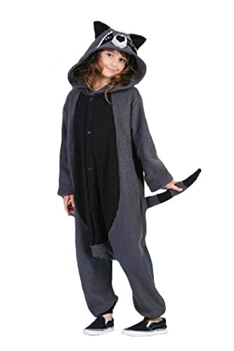 wotogold Damen Tier Waschbär Pyjamas Cosplay Kostüme Small Grau