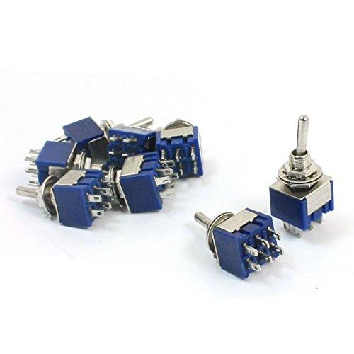 DPDT ON / OFF / ON Schalt 3 Position Toggle AC 125V 6A Blau 8pcs Schalter -