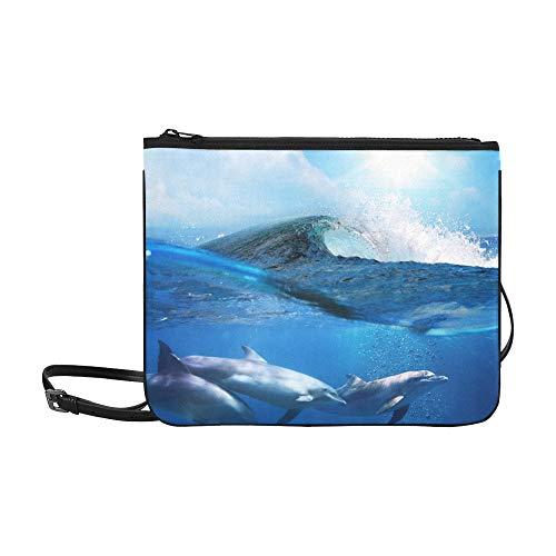 EIJODNL Dolphin Underwater On Reef Look Pattern Benutzerdefinierte hochwertige Nylon-dünne Clutch-Tasche Umhängetasche mit Umhängetasche -
