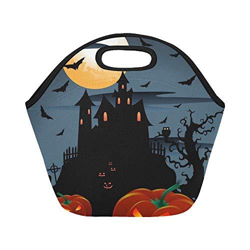 Isolierte Neopren-Lunch-Tasche Scary Pumpkins Halloween Moon Große wiederverwendbare thermische dicke Lunch-Tragetaschen Für Brotdosen Für den Außenbereich, Arbeit, Büro, Schule