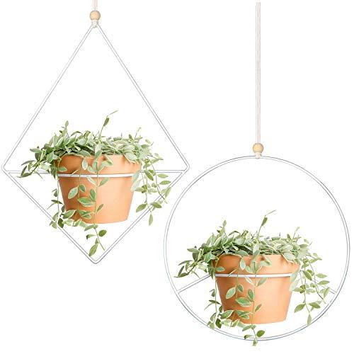 Mkouo 2 Pcs Pflanzenaufhänger Metalldiamant-Shaped Hängender Pflanzer Modern Home Decor, Passt groß 6 Zoll Pflanzgefäß (Blumentopf Nicht enthalten)