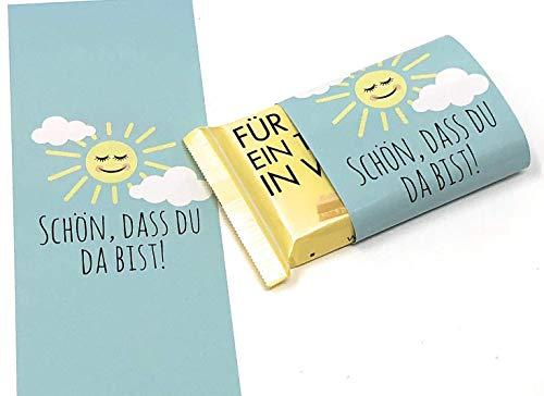 Schokoladenbanderolen, 25 Stück Gastgeschenk zur Taufe, Kommunion, Konfirmation Schulanfang oder Hochzeit, Banderolen für Schokolade, Taufgeschenk