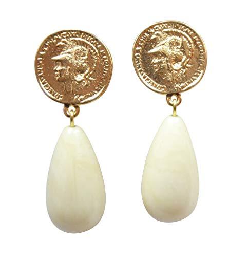 Vergoldete Clip-Ohrstecker Ohrringe sehr groß vergoldet Münze Anhänger beige elfenbein tropfen-förmig Statement Fashion Designer JUSTWIN -