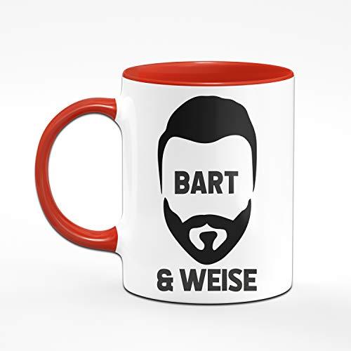 Tasse mit Spruch Bart & Weise, Geburtstagsgeschenk, Geschenk für Männer mit Bart Tassen mit Sprüchen lustig (Rot) - 2