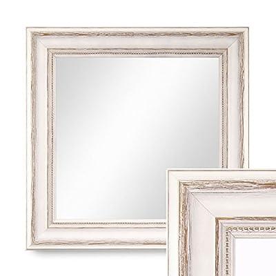 Wand-Spiegel im Massivholz-Rahmen Landhaus-Stil Weiss