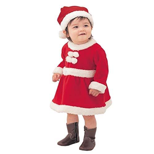 Mädchen Kostüm Santa Claus - EZSTAX Weihnachtsmann Kostüm Kinder Nikolaus Kostüm Santa Claus Kostüm für Mädchen und Jungen ,Mädchen,120