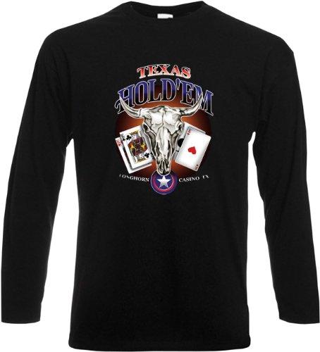 Longhorn Casino Herren Langarm-Shirt ::: Texas Hold Em Longhorn Casino ::: für Poker-Spieler Schwarz