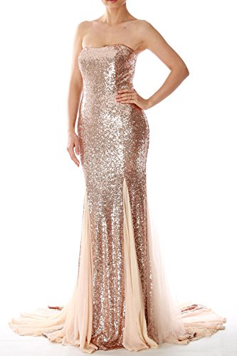 MACloth Mermaid Long Prom Ball Gown Strapless Sequin Evening Formal Dress Dark Green