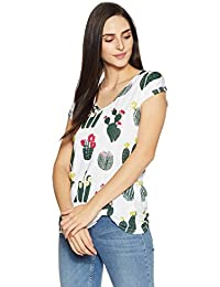 Symbol Amazon Brand Women's All Over Printed Viscose T-Shirt