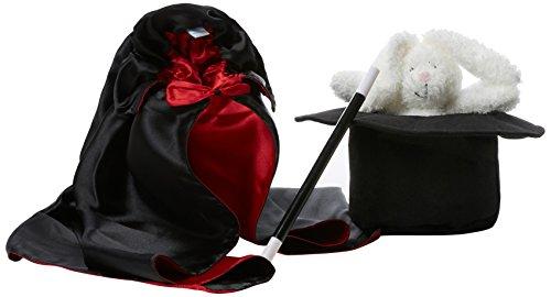 FurniToys Zauberer-Set für Kinder - Komplette Ausrüstung mit Umhang, Hut, Zauberstab und (Halloween Kostüm Zauberer Hase Und)