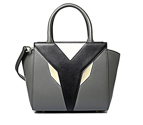 Xinmaoyuan Borse donna in pelle geometrica semplice incantesimo ali di colore mano sacchetto Pack Bat spalla borsa messenger,nero Grigio