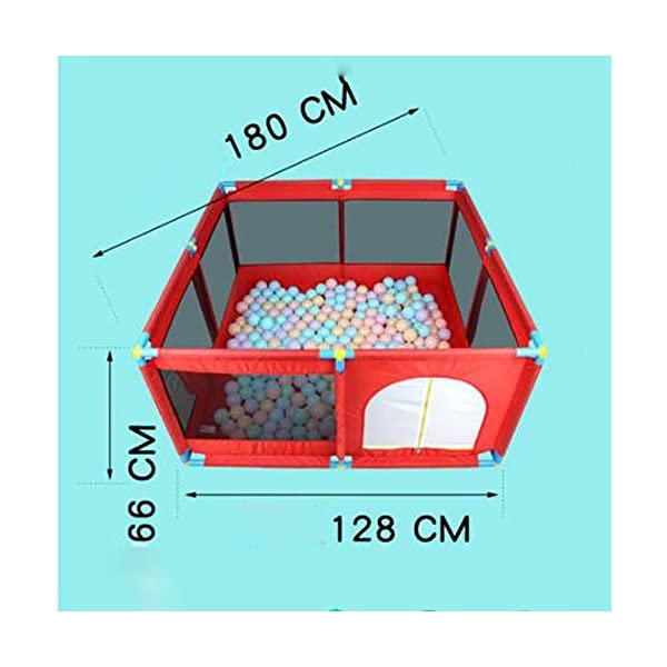 Red Playpen -baby Shooting Fence, Toddler Twins Safety Game Playard, Children Security Fence with Basketball Hoop (Size : Playpen) Playpens  2