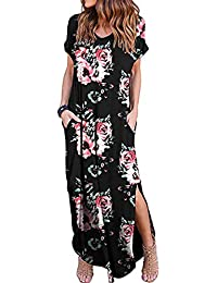 5a87161458 Kidsform Women Maxi Dress Floral Side Split Casual Loose Pockets Sundress  Short Sleeve Summer Beach T