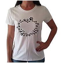 VersoLibre Cuore di Design t-Shirt da Donna con Impronte di Cane Realizzato  con Serigrafia 914736067de4