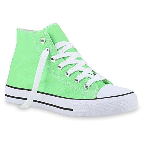 Damen Sneakers High Top Sportschuhe Stoffschuhe Schnürer Hellgrün