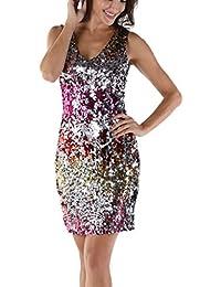 VICGREY ❤ Donna Eleganti Vestito Paillettes Abiti da Cerimonia Smanicato  Prom Dress Vestito Abito da Sera 9022563b990