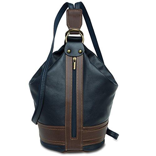 CASPAR TL721 2 in 1 Rucksack Handtasche Schultertasche Daypack aus weichem Nappa Leder , Farbe:dunkelblau;Größe:One Size