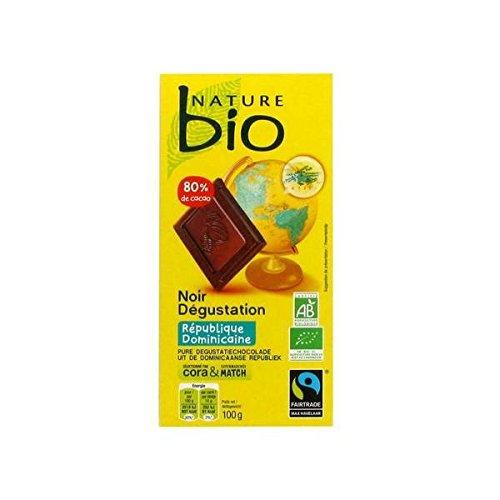 Nature bio chocolat noir degustation 80% de cacao République Dominicaine 100 g - ( Prix Unitaire ) - Envoi Rapide Et Soignée