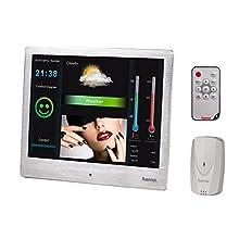 """HAMA Cornice digitale con stazione barometrica Special, 8"""" (20,32 cm), 4:3,800x600, SD, SDHC, MMC, porta USB, sensore esterno, telecomando, argento"""