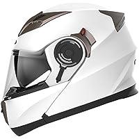 Motorbike Crash Modular Helmet ECE Approved - YEMA YM-925 Full Face Racing Motorcycle Helmet with Sun Visor for Adult Men Women, Bluetooth Friendly (Not Included) - White,Medium