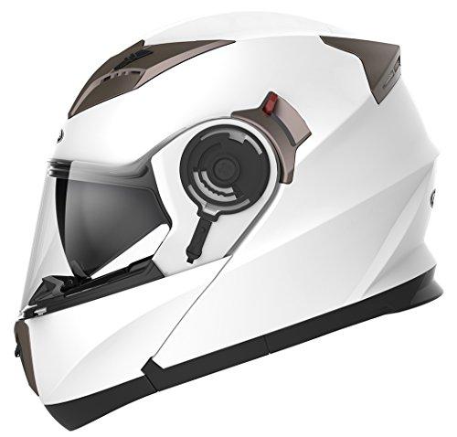 Motorradhelm Klapphelm Integralhelm Fullface Helm - Yema YM-925 Rollerhelm Sturzhelm mit Doppelvisier Sonnenblende ECE für Damen Herren Erwachsene-Weiß-XL