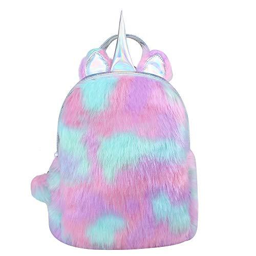 Alpacasso niedlicher Plüsch-Regenbogen-Einhorn-Rucksack, weicher Regenbogen-Rucksack glänzender Mini-Stofftier-Einhorn-Rucksack für Mädchen-Kleinkind-Rucksack Reiserucksack.
