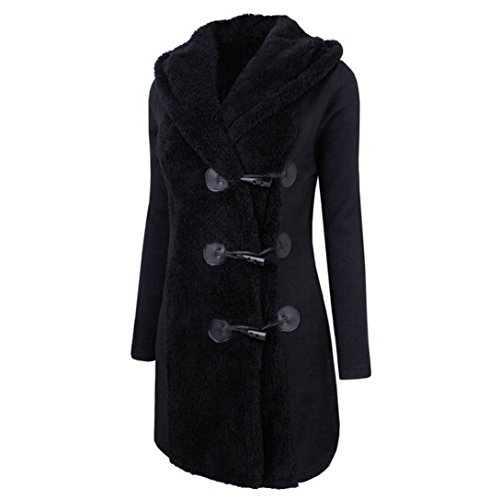 Koly donne moda in inverno più cappotto spessa cappotto pulsante caldo hoodie parka outwear inverno incappucciato giubbino lana con cappuccio giacche cappotti imbottito giacca lungo parka (black, m)