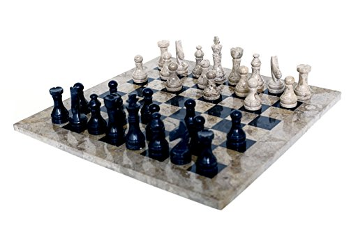Radicaln 16' Handmade Fossil Coral and Black Weighted Marble Full Chess Game Set Juego de ajedrez Completo de Coral fósil y marmoleado Negro de 16 '