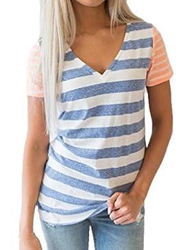 LuckyGirls Camisetas Mujer Originales Manga Corta Rayas Patchwork Remeras Blusa Camisas